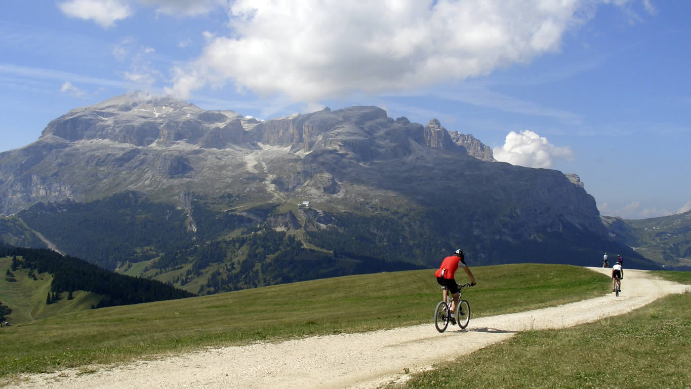 Mountain biker in the Dolomites